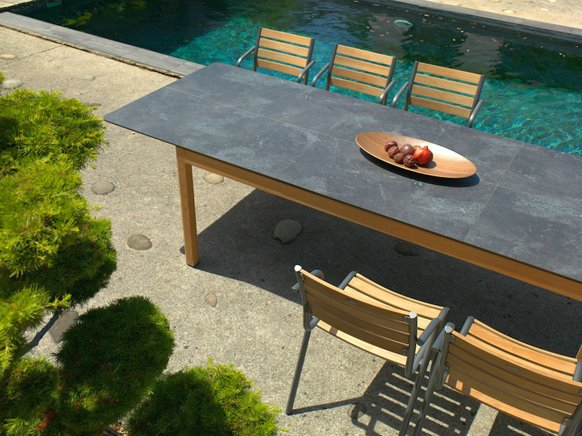 Extending rectangular HPL garden table TEKURA | Rectangular table - Les jardins