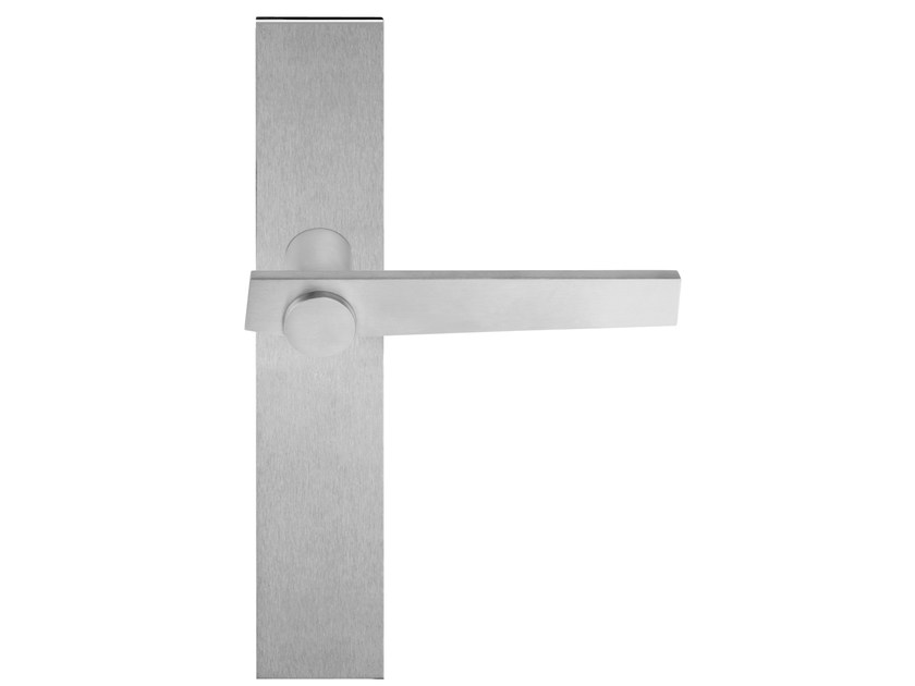 Stainless steel door handle with brushed finishing on back plate TENSE BB101P236 | Door handle - Formani Holland B.V.