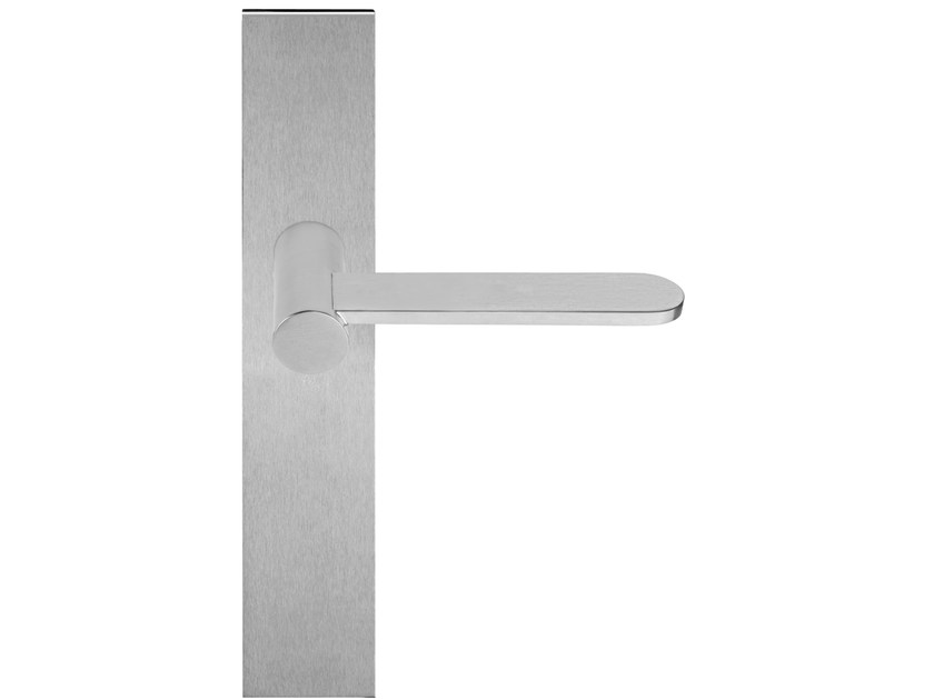 Stainless steel door handle with brushed finishing on back plate TENSE BB102P236   Door handle - Formani Holland B.V.