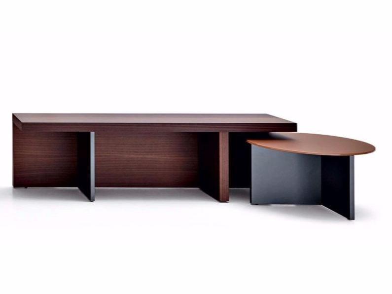 Wooden coffee table TETRIS | Round coffee table - MOLTENI & C.