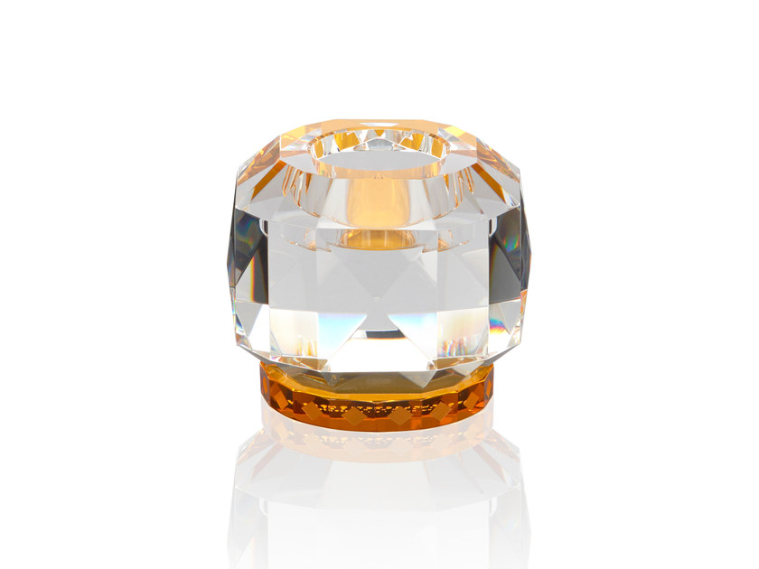 Crystal candle holder TEXAS - CLEAR / AMBER - Reflections Copenhagen