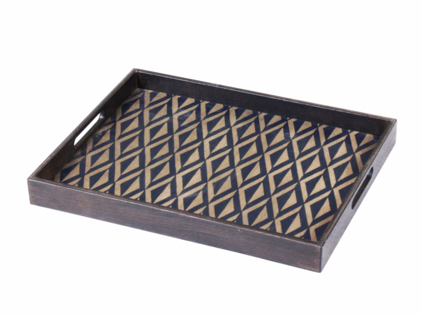 Rectangular wooden tray INDIGO DIAMOND - Notre Monde