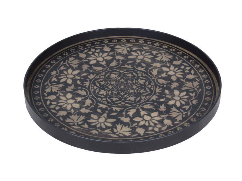 Round wooden tray BLACK MARRAKECH by Notre Monde