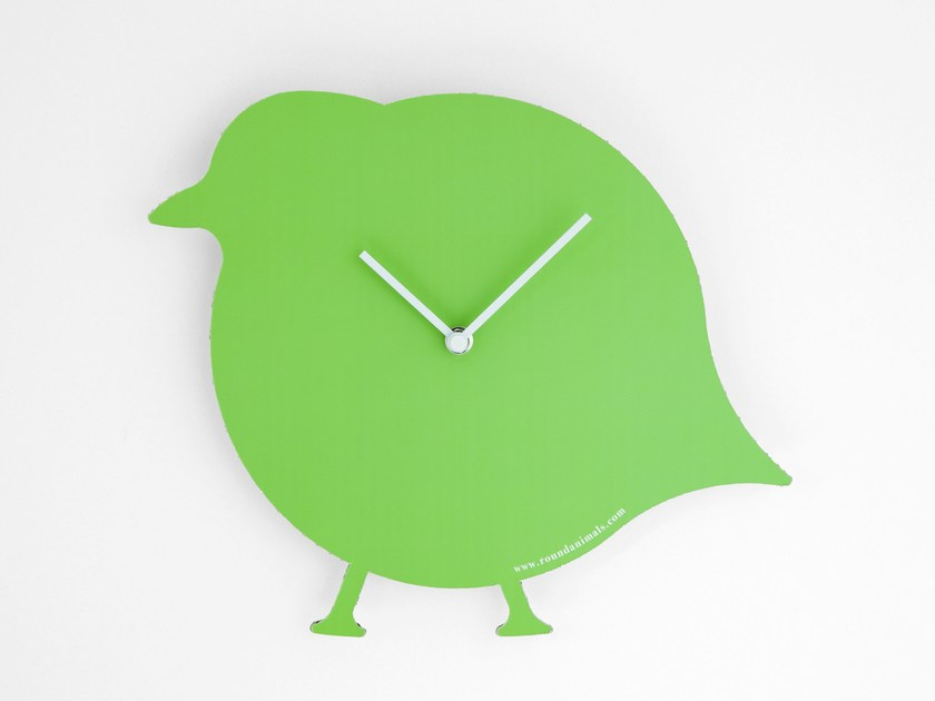 Wall-mounted cardboard clock and cardboard briefcase THE GREEN BIRD by Round Animals Design