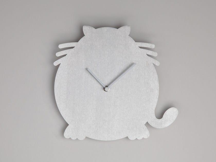 Wall-mounted aluminium clock THE CAT by Round Animals Design