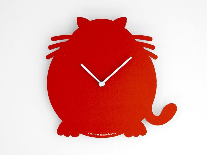 Wall-mounted cardboard clock and cardboard briefcase THE RED CAT by Round Animals Design