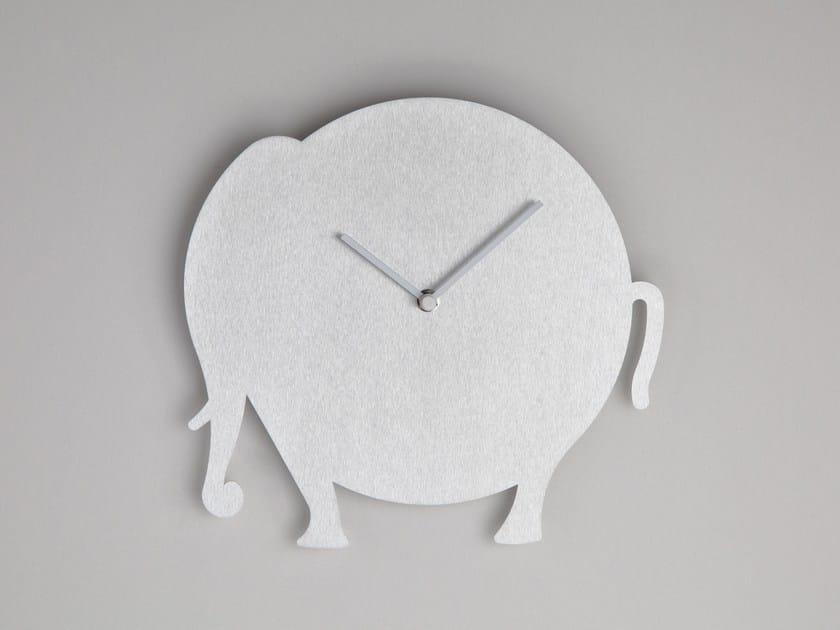 Wall-mounted aluminium clock THE ELEPHANT by Round Animals Design