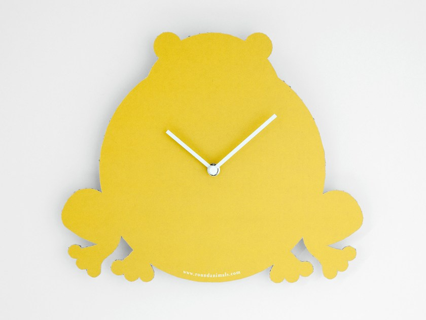Wall-mounted cardboard clock and cardboard briefcase THE YELLOW FROG by Round Animals Design