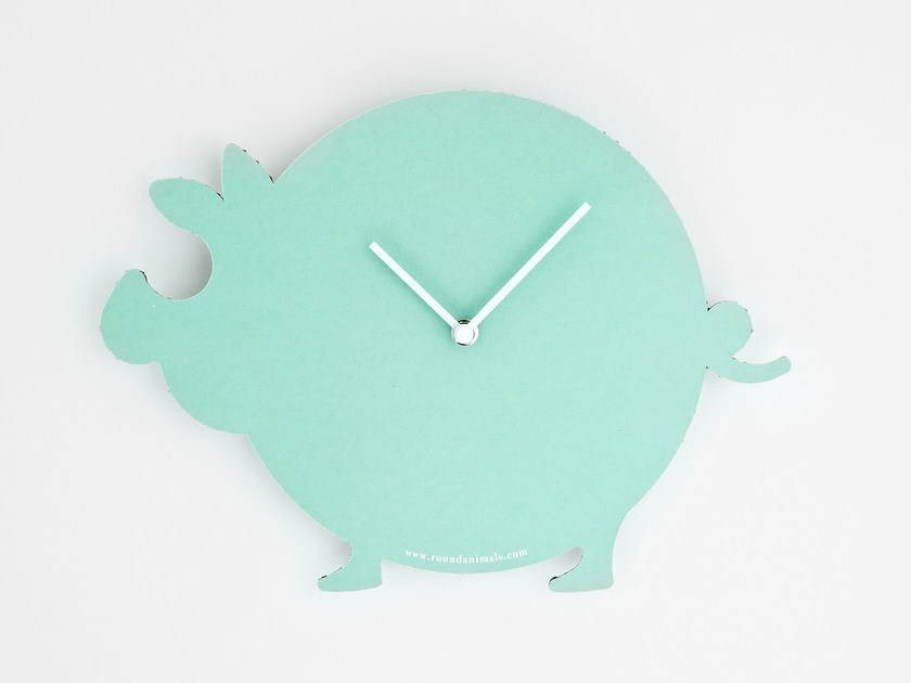 Wall-mounted cardboard clock and cardboard briefcase THE TURQUOISE PIG by Round Animals Design