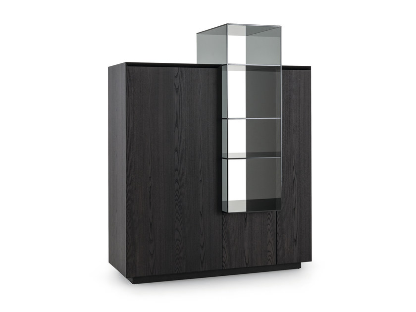 Wooden highboard with doors THECA COCKTAIL - Poliform