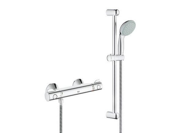 2 hole thermostatic shower mixer GROHTHERM 800 | Thermostatic shower mixer with hand shower - Grohe