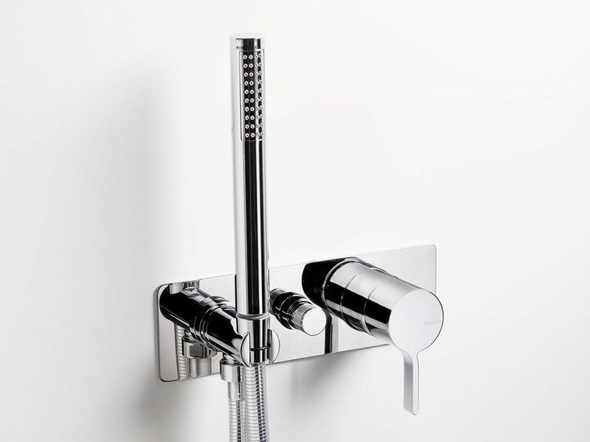 Wall-mounted bathtub mixer with hand shower TIE | Bathtub mixer - RUBINETTERIE RITMONIO
