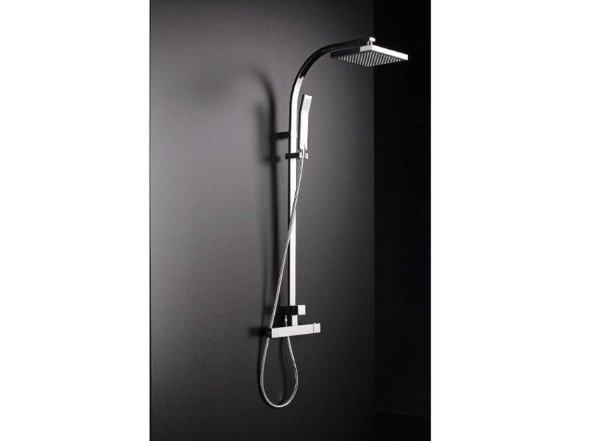 Wall-mounted shower panel with hand shower TINA | Thermostatic shower panel by Systempool