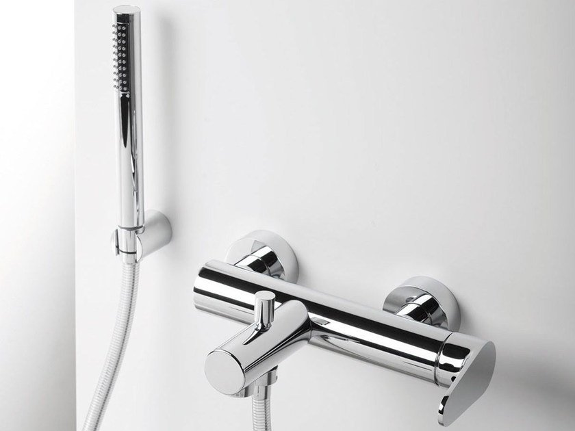 Wall-mounted bathtub mixer with hand shower TIP | Single handle bathtub mixer - RUBINETTERIE RITMONIO