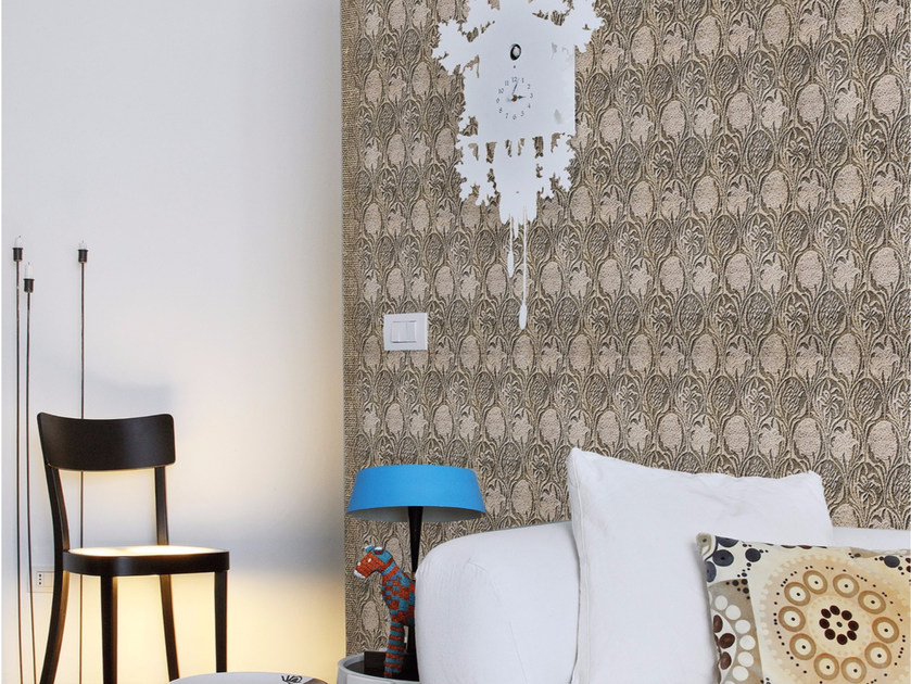 Damask panoramic wallpaper with textile effect TISSU 1 - Inkiostro Bianco