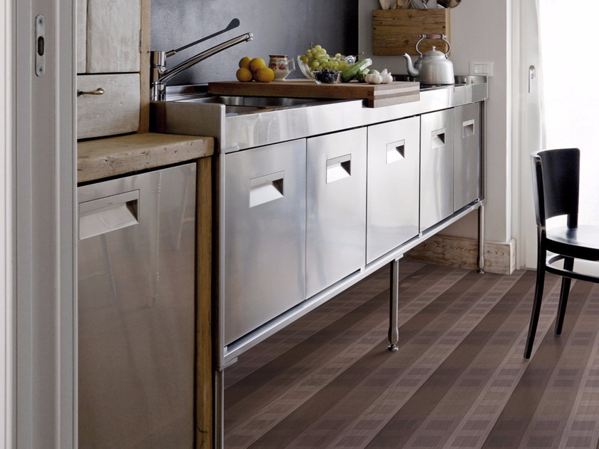 Striped floor wallpaper TISSU 2 - Inkiostro Bianco
