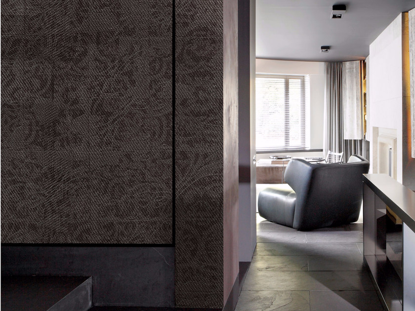 Damask panoramic wallpaper with textile effect TISSU 4 - Inkiostro Bianco