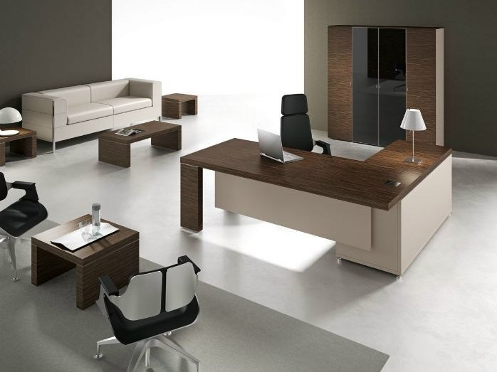 L-shaped office desk with shelves TITANO | L-shaped office desk - Castellani.it