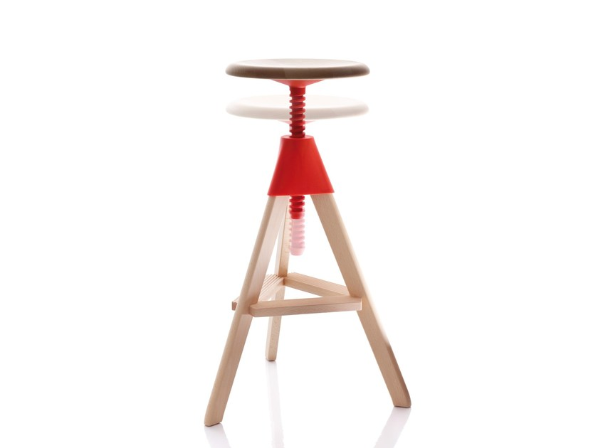Height-adjustable beech stool TOM AND JERRY – THE WILD BUNCH - Magis