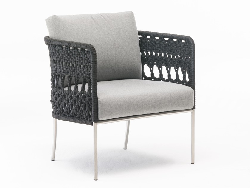 Upholstered easy chair with armrests TOMBOLO - Living Divani