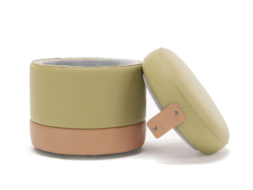 Storage upholstered leather pouf TONDER - Egoitaliano