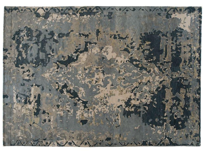 Tappeto fatto a mano rettangolare in lana e seta TOPKAJ MOON BLUE - Golran