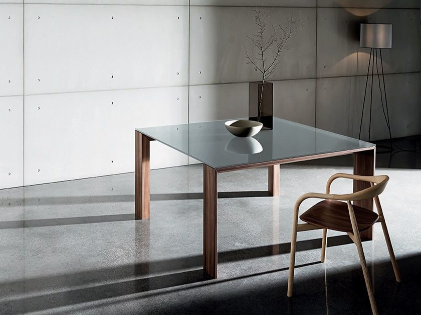 Square wood and glass table TORONTO | Square table - SOVET ITALIA