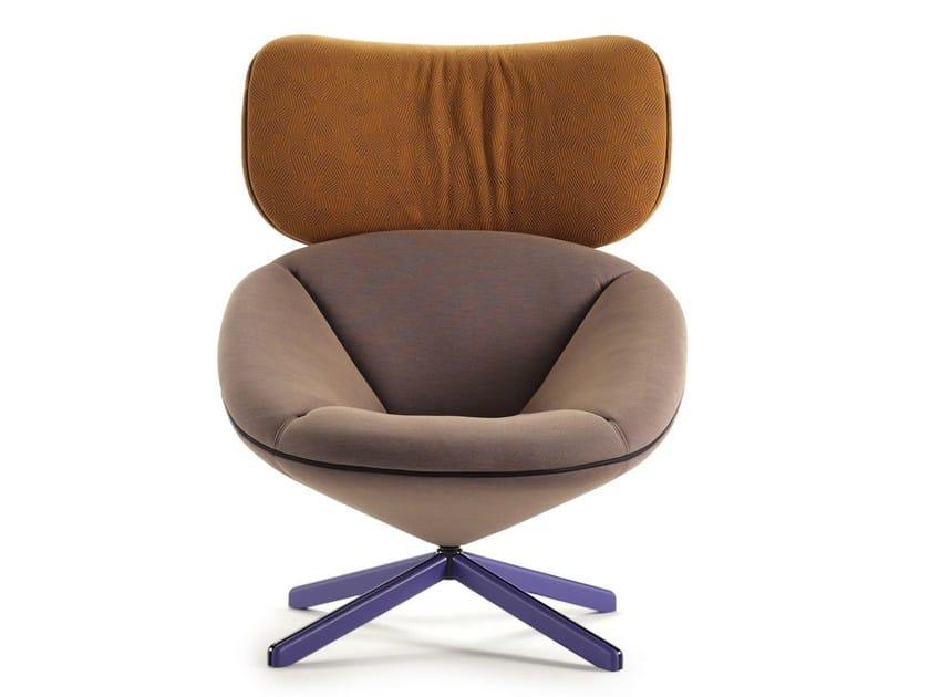 Fabric armchair with 4-spoke base with headrest TORTUGA | Fabric armchair - SANCAL