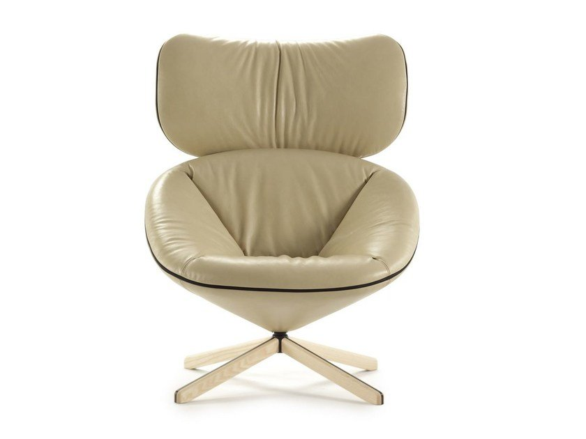 Leather armchair with 4-spoke base with headrest TORTUGA | Leather armchair - SANCAL