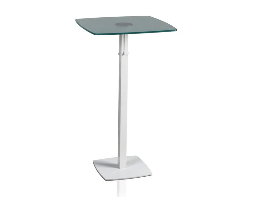 Square glass and steel high table TOTEM 415 C - TALIN