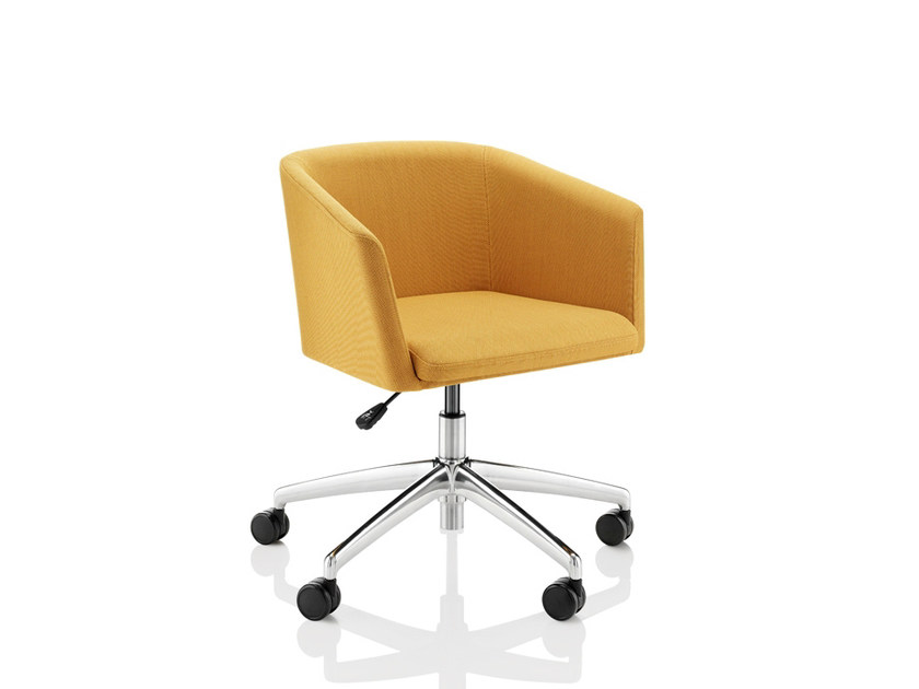 Upholstered chair with 5-spoke base with casters TOTO | Chair with casters - Boss Design