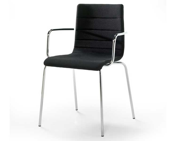 Upholstered fabric chair with armrests TESA STRIPE AR | Chair with armrests by arrmet