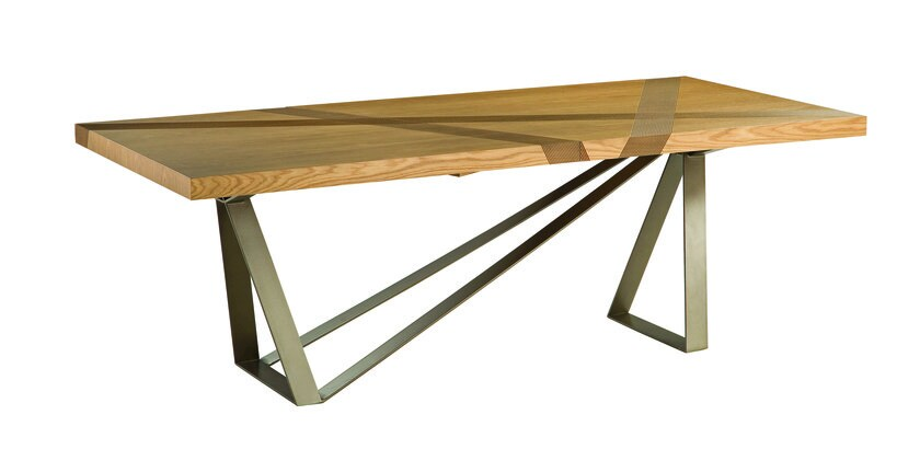 Rectangular wood veneer dining table TRACK - ROCHE BOBOIS
