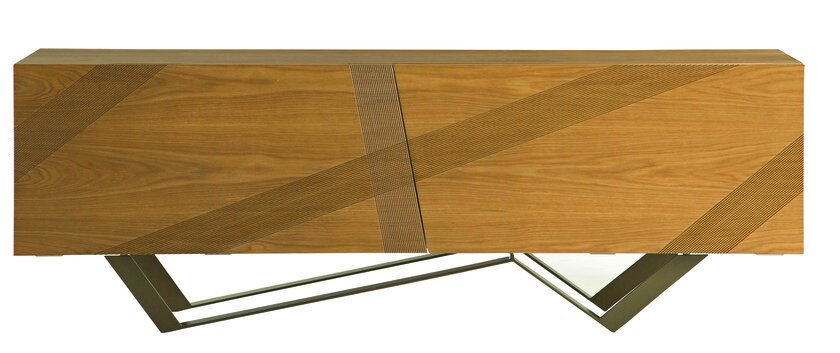 Wood veneer sideboard with coplanar doors track les contemporains collection - Buffet contemporain roche bobois ...