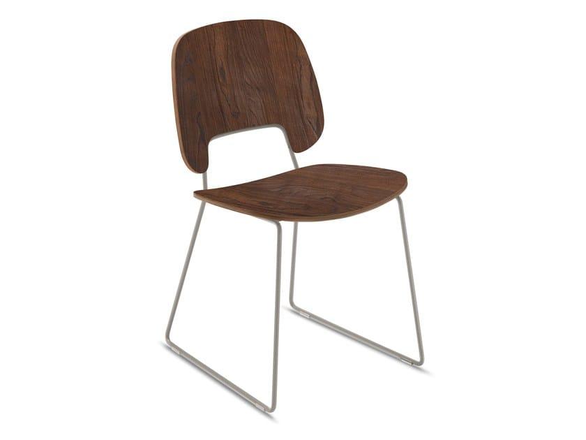 Sled base multi-layer wood chair TRAFFIC   Sled base chair - DOMITALIA