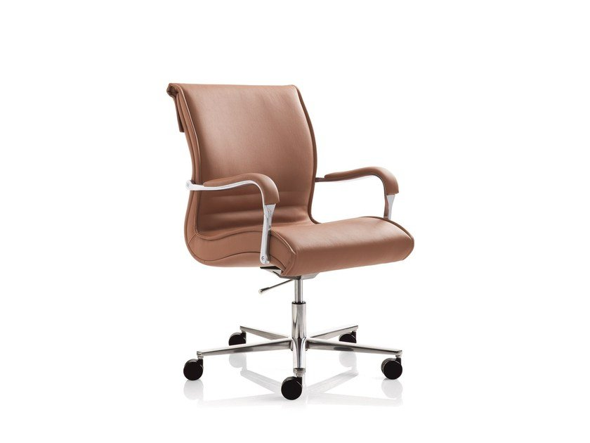Swivel task chair with 5-Spoke base with armrests PULCHRA | Task chair with 5-Spoke base - Emmegi