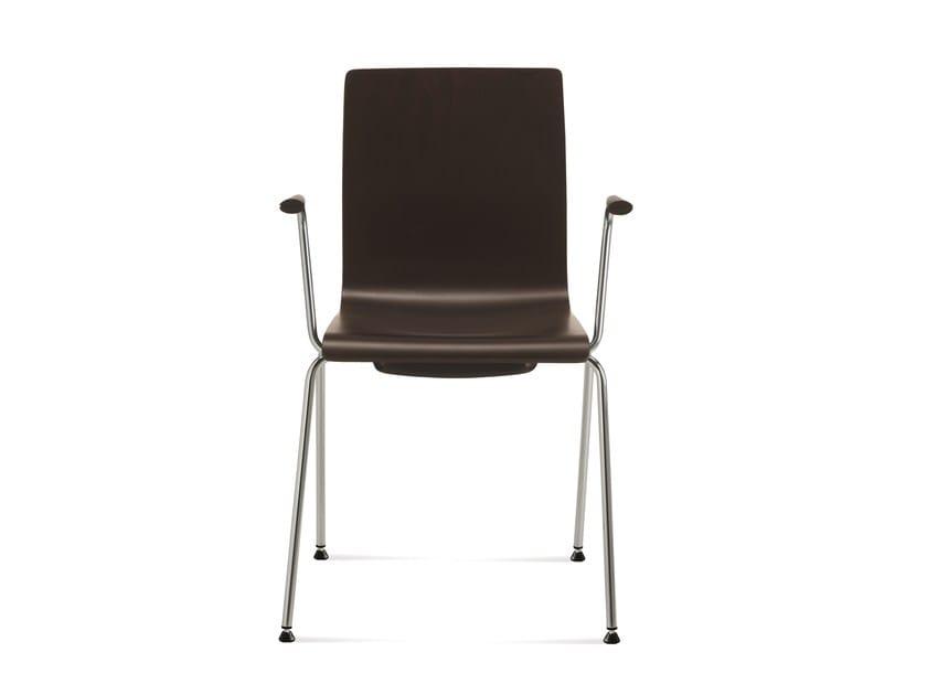 Sedia da conferenza impilabile con braccioli SLIM | Sedia da conferenza con braccioli - Emmegi