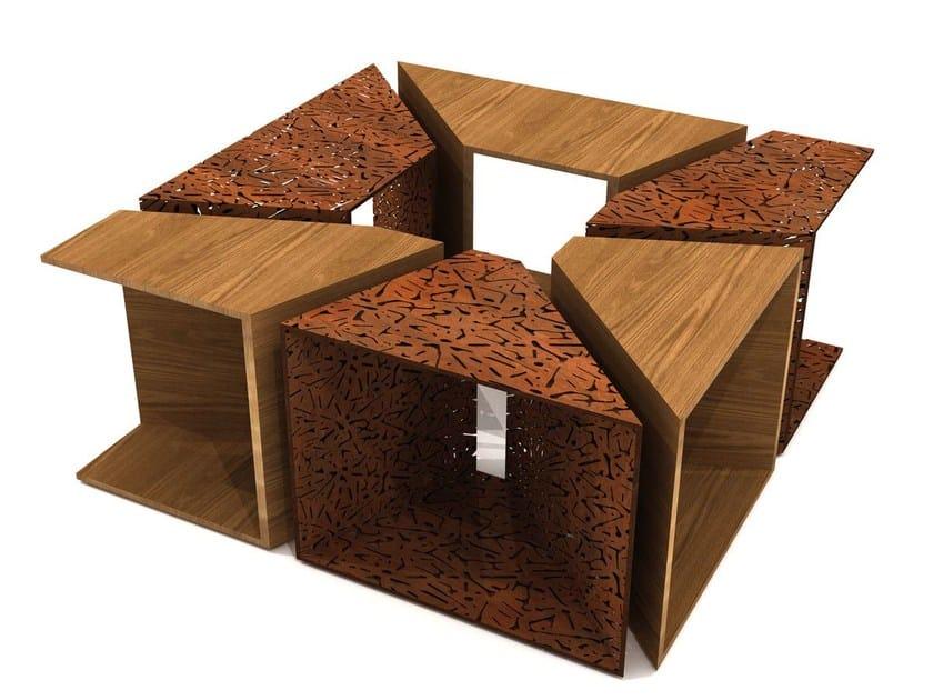Griglia per alberi in acciaio e legno ALCORQUE RECTANGULAR - LAB23