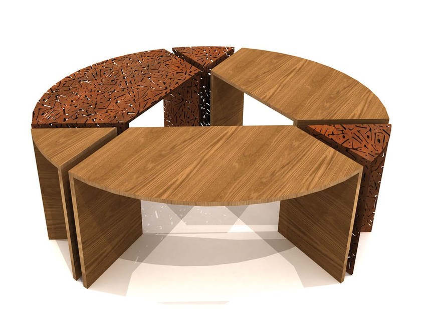 Steel and wood tree grill ALCORQUE CIRCULAR by LAB23