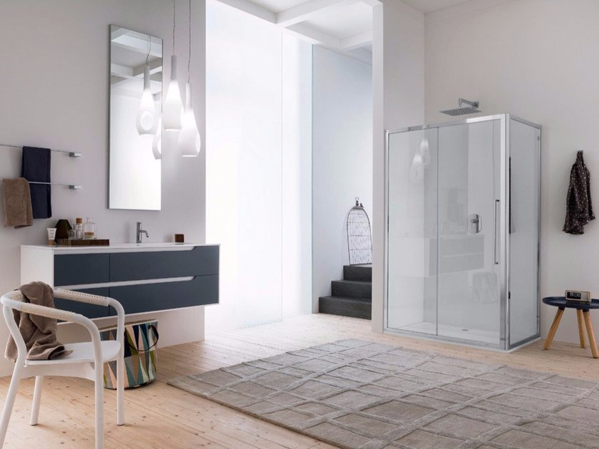 Corner glass shower cabin with sliding door TRENDY - 2 by INDA®