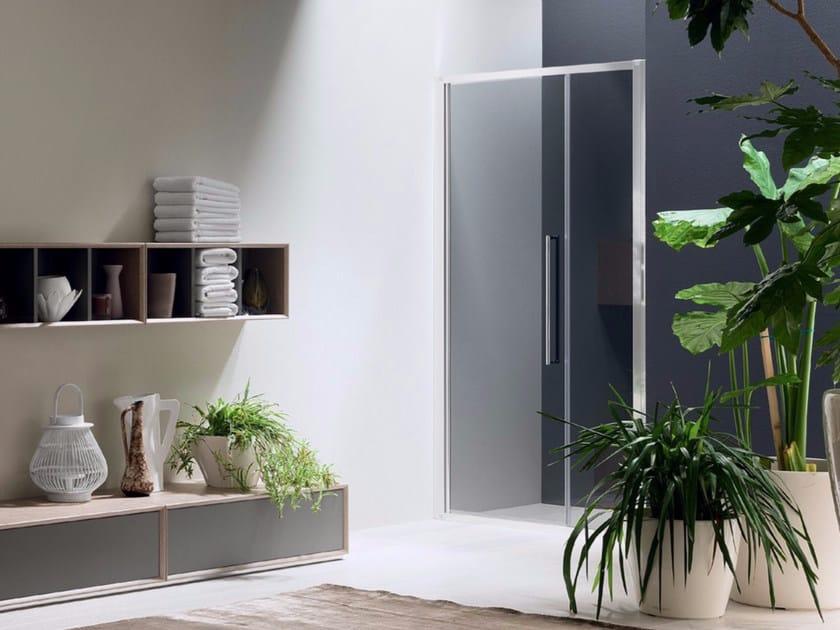 Box doccia a nicchia in vetro con porta a battente TRENDY - 7 - INDA®
