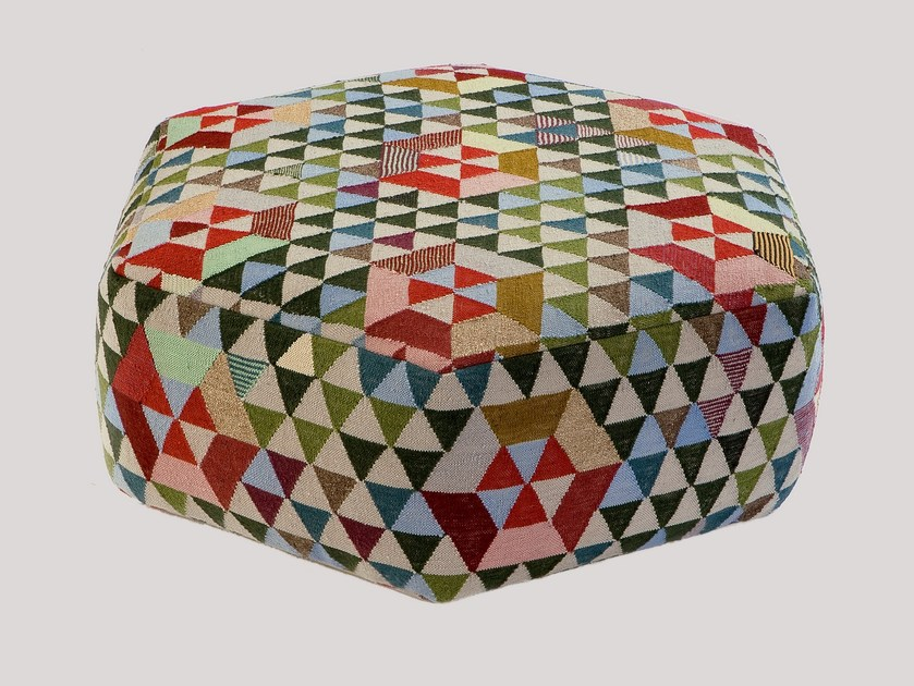 Upholstered wool pouf TRIANGLEHEX SWEET GREEN | Pouf - Golran
