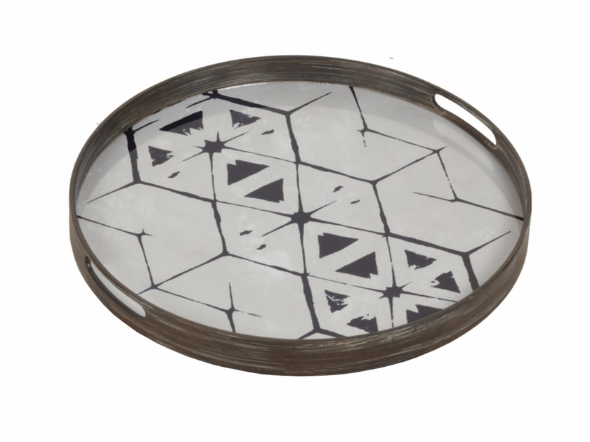 Round wood and glass tray TRIBAL HEX by Notre Monde