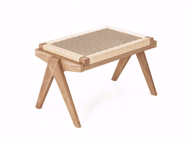 Rope and teak stool TRIBUTE TB14-T by KARPENTER