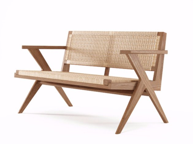 2 seater rope and teak sofa TRIBUTE TB16-T by KARPENTER