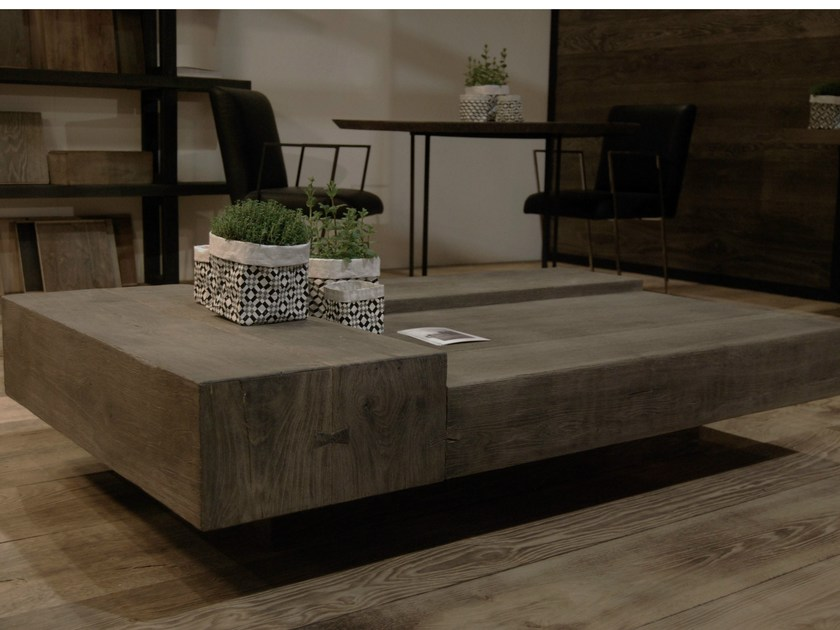 Low oak coffee table TRIPLÉ - CABUY D.