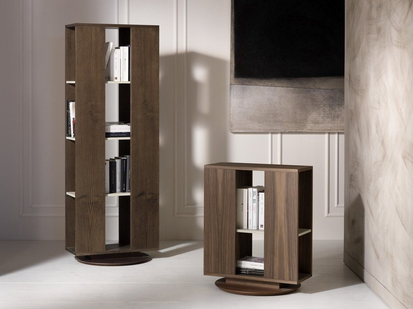 Freestanding swivel bookcase TROLLEY by Pacini & Cappellini