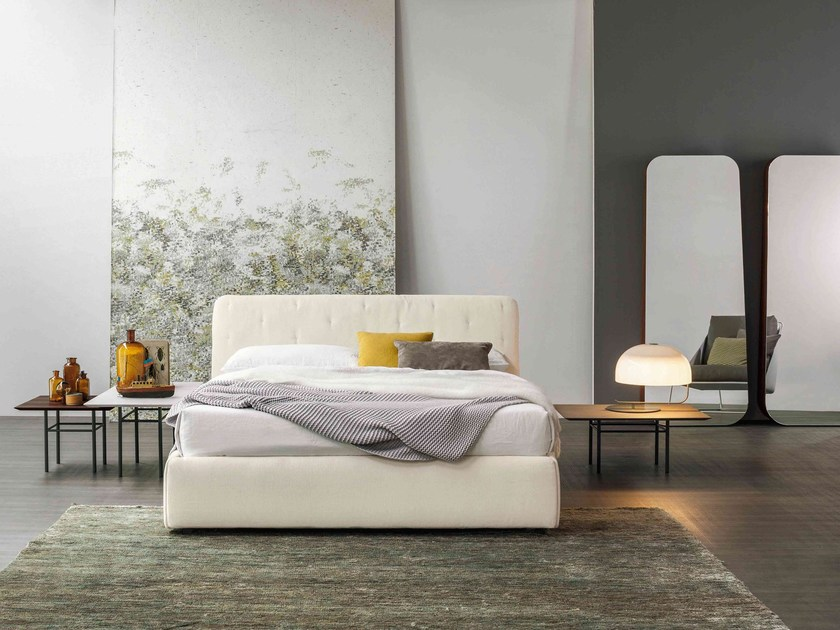 Upholstered leather storage bed TRUE | Double bed - Bonaldo