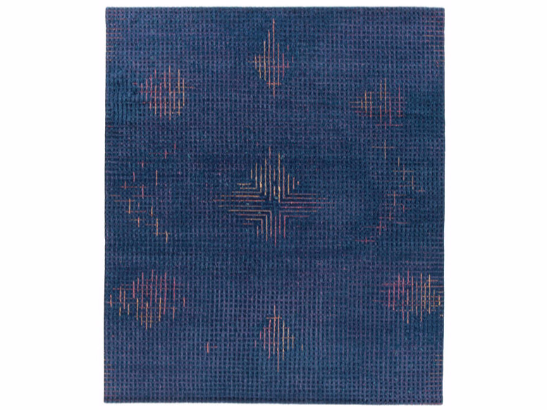 Handmade rectangular rug TUMULTE BLUE by Golran