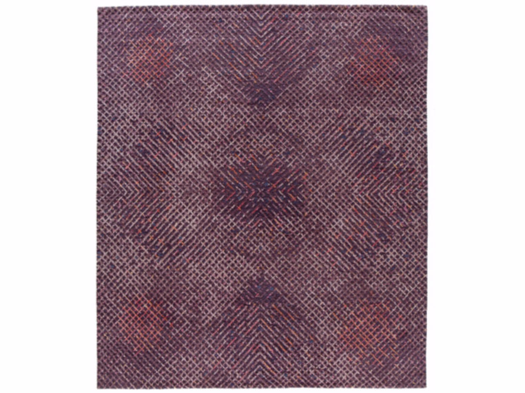 Handmade rectangular rug TUMULTE PURPLE - Golran